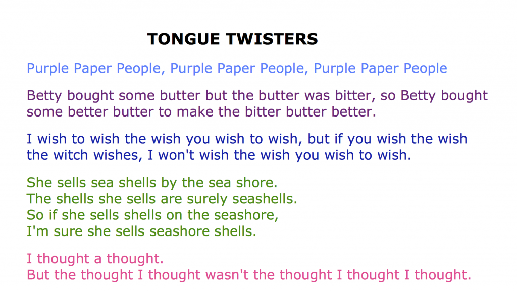 List of tongue twisters
