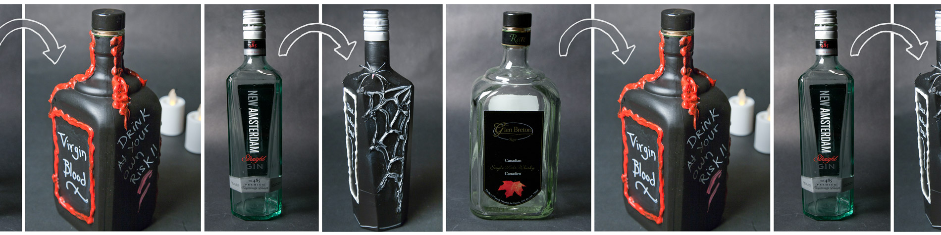 DIY Gothic Bottle Decorations
