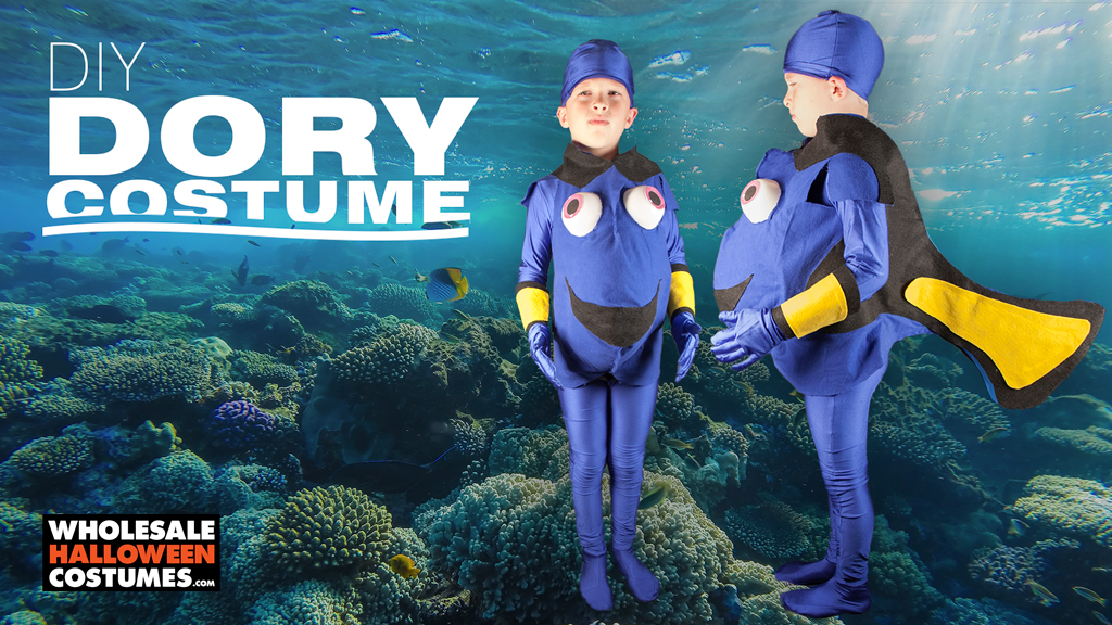 Diy dory costume wholesale halloween costumes blog this halloween youre gonna need a bigger tank to contain the fish in your house this diy blue tang costume will have your kid swimming from house to solutioingenieria Gallery